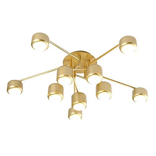 HXCD Lámpara de Techo acrílica LED Moderna, 10 Luces Candelabro de Ramas de 60w 4500-5100lm Lámpara de Techo de Montaje Empotrado en Negro Mate Creativo Cerca del Techo 3000-6000k Dorado 10 Luces