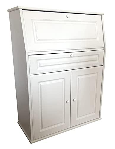 Sekretär Kommode Flurschrank Büroschrank mit Klappe und 2 Türen, Schublade, Weiss, 111x82x40cm (HxBxT)