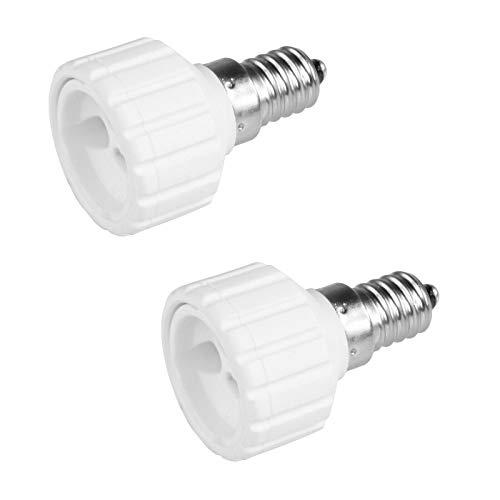 2x Lampensockel Adapter | E14 auf GU10 | Lampenfassung Konverter Fassung Sockel Stecker Glühbirne Lampe LED | 2 Stück