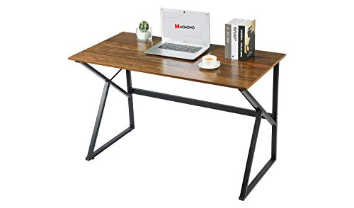 "WOHOMO Computer Desk 39"" Home Office Desk Small Writing Desk Wood and Metal Table Simple Style K Study Desk Work Laptop Workstation, Rustic Walnut"