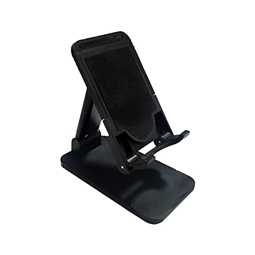 EUROXANTY Soporte para Móvil y Tablets   Soporte Móvil Escritorio   Regulable en Altura   Base Extensible   Almohadilla Antideslizante   Color Negro