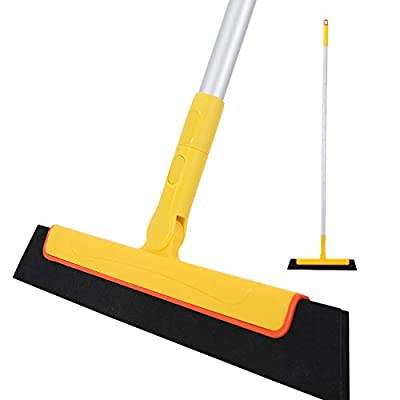 Yocada Floor Squeegee 51in Broom Perfect for Shower Bathroom Kitchen Home Tile Pet Hair Fur Floor Marble Glass Window Water Foam Cleaning Long Adjustable Removable Handle Anti-Static Household Yellow