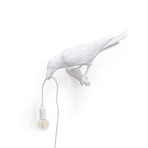 Seletti Bird Lamp Looking lámpara de mesa cuervo blanco