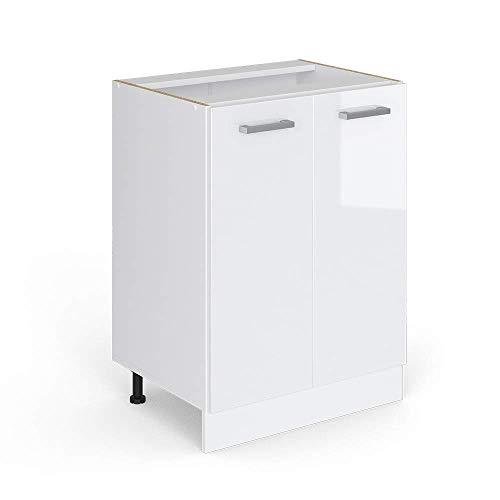 Vicco Küchenschrank R-Line Küchenzeile Hängeschrank Unterschrank Küchenschränke Küchenunterschrank Arbeitsplatte, Möbel verfügbar in anthrazit und weiß (weiß ohne Arbeitsplatte, Unterschrank 60 cm)