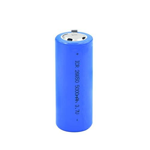 RitzyRose 26650 BateríAs Recargables 3.7v 5000mah Batería De Iones De Litio De Litio, PTC Protegido para Luz LED ICR 26650 Celdas 1pieces