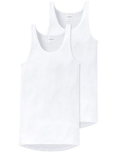 Schiesser Herren Feinripp 5121 Unterhemd 2er pack, Weiß (100), Large