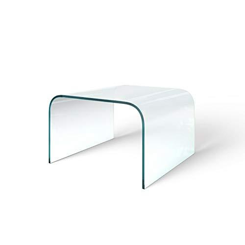 Bricozone Tavolino Basso da caffè Elegante Salotto Ufficio Quadrato in Vetro Temperato, Tavolo Luxury Z-27, Design Moderno, Tavolo Basso dal Design Minimal, Trasparente 60 x 38 x 60 cm