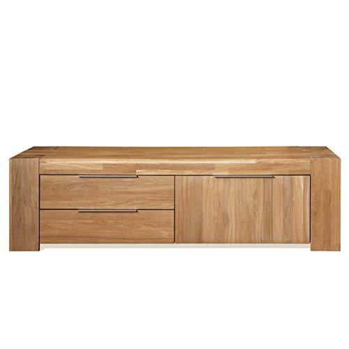 Fjord tv-tafel, massief hout, eiken, modern, Scandinavische stijl, met 2 laden en deur, ideaal voor woonkamer, eetkamer, 168 x 45 x 47 cm, 168 x 45 x 47 cm, Natuurlijke eik