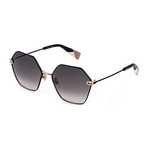 FURLA Gafas de sol SFU456 0301 58 – 17 – 140 para mujer, oro rosado brillante, partes negras, lentes green gradient powder