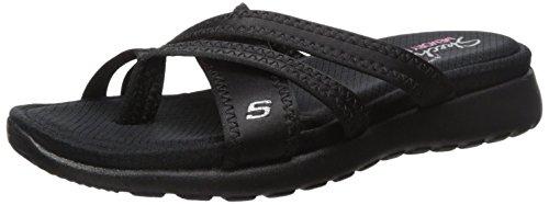 Skechers Cali Women's Breeze Low-Bright Star Flat Sandal,Black/Black,10 M US
