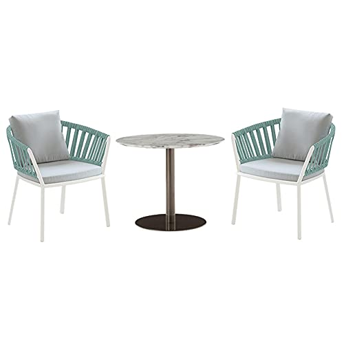 Outdoor Patio Furniture Sets, 3-Piece All-Weather Garden Combination Dining Chair Sets with Marble Coffee Table Backyard Patio Conversation Set