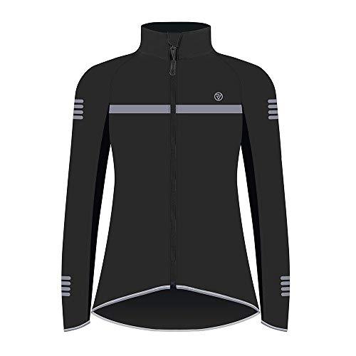 Proviz Classic Hi Viz Reflective Womens Softshell Cycling Jacket Hi Visibility Cycle Bike Coat Black 14