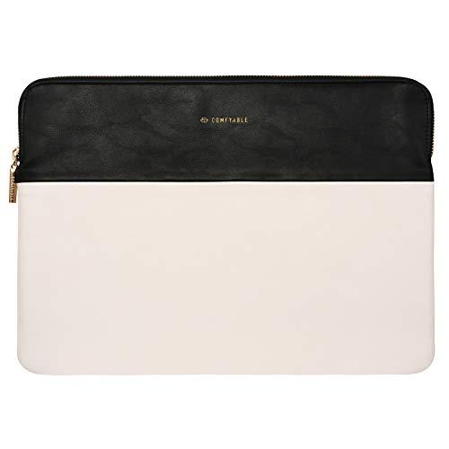 Comfyable 13 133 Zoll Laptop Sleeve Kompatibel mit 13 Zoll MacBook Air MacBook Pro fur Frauen PU Leder Tasche Wasserdicht Cover Notebook Computer Case Hellbeige Schwarz