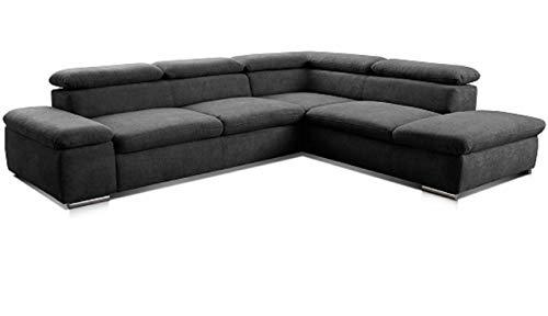 Cavadore Ecksofa Alkatraz / L-Form Sofa groß mit Ottomanen rechts und verstellbaren Kopfteilen / Modernes Design und hochwertiger Webstoff-Bezug / Maße:...