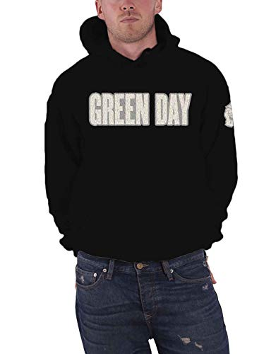 Green Day Hoodie Band Logo Applique Official Mens Black Pullover Black Size XL