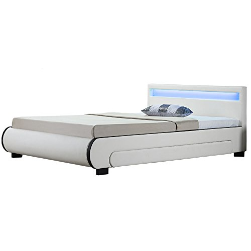 Juskys Polsterbett Bilbao 140x200 cm – Bett mit Bettkasten, LED-Beleuchtung & Lattenrost – Bettgestell Holz und Kunstleder – Stauraumbett weiß