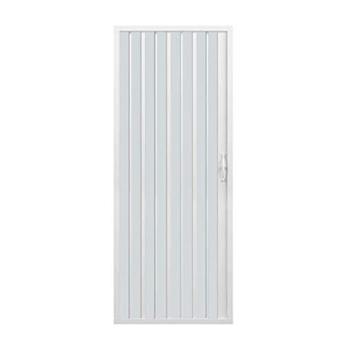 Duschkabine mit einer Tür, Öffnung vorne, hergestellt aus ungiftigem PVC, selbstverlöschend, kürzbar durch den Zuschnitt der Schiene. Farbe: Weiß.