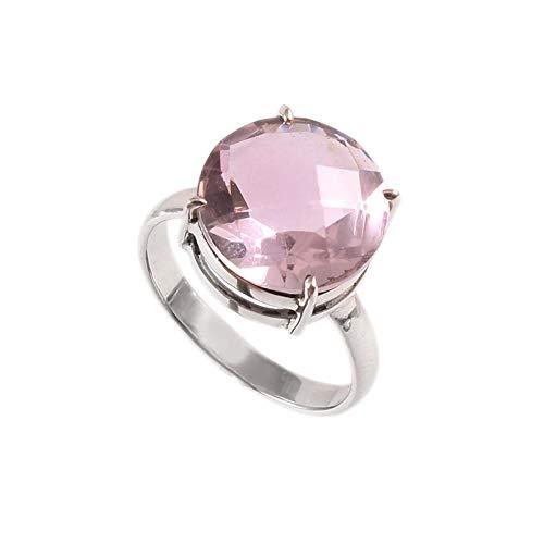 Anillo de plata de ley 925 Anillo de Amatista natural para mujer Anillo de piedras preciosas naturales para niñas Anillo de compromiso, anillo de Amatista Tamaño del anillo 14.5