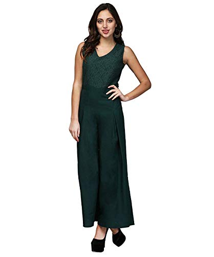 V&M Women's Dark Green Lace V-Neck Flared V-Neck Flared Jumpsuit...