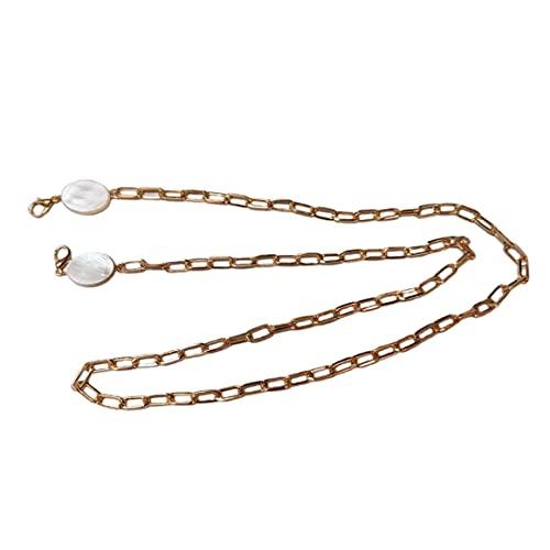 Cordón para gafas Desmontable Anti-pérdida Multifuncional Cadena para colgar Gafas Cadena Máscara Cordón Cadena de concha - Oro 70Cm