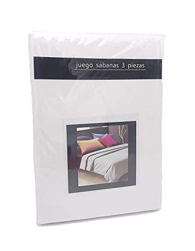 LEYENDAS Juego SABANAS 4 Piezas Liso 15 Color,100% Poliester (Blanco, 180_x_200_cm)