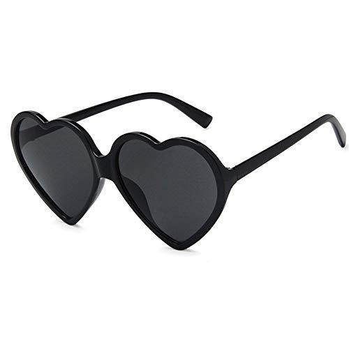 Amor del corazón gafas de sol de las mujeres atractivas de la manera retro lindo del ojo de gato barato de la vendimia Gafas de sol rojo púrpura del té lente UV400 Mujer ( Lenses Color : Black Grey )