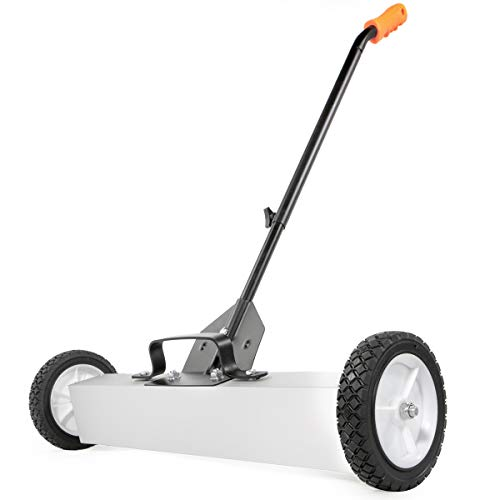 """XtremepowerUS 24"""" Magnetic Pick-Up Sweeper w/Wheels 30 lbs Capacity, Adjustable Handle & Floor Clearance"""