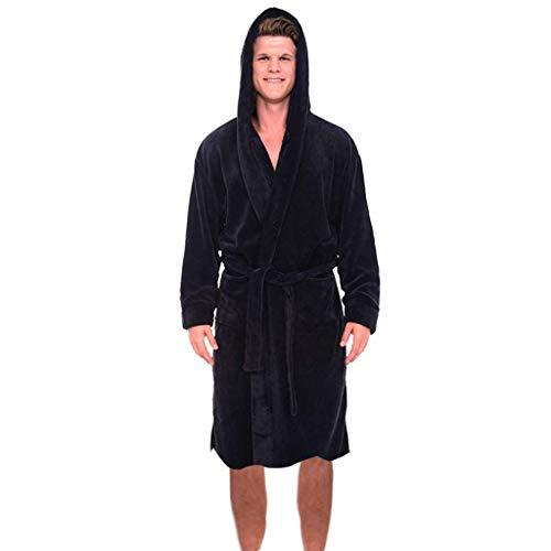 Zarupeng Herren Winter Plus Size Kapuze Bademantel Langarm Nachthemd Plüsch Schal Morgenmantel Home Pyjamas Lange Saunamantel Robe Coat