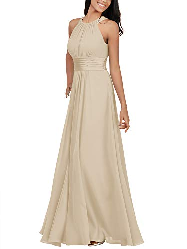 Alicepub Chiffon Champagne Bridesmaid Dresses Long Formal Party Dress for Women Special Occasion Halter, US12