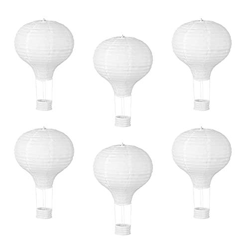 opamoo 6 Piezas Linternas de Papel Farolillo, Farolillos de Papel para Decoración, Cielo Linterna de Papel Romántico, Globo Aerostático de Decoración, para Bodas, Cumpleaños, Fiestas