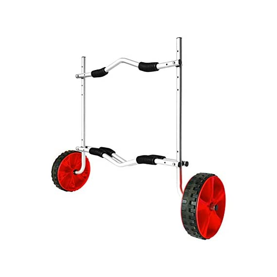 """Onefeng Sports Airless End Kayak Cart, Canoe Carrier Trolley Adjustable Kayak Trolley Suit for Extra Large 24inch Width… 1 ►【Suit for Extra Large Kayak】 Kayak cart is suitable for kayaks up to 24 inches wide.The height of kayak cart can be adjusted from 9.8"""" to 17.7"""", and each gear can be adjusted to 2"""".The width of our canoe cart can be adjusted from 20"""" to 24"""".So whatever your. So no matter what size you are, you can adjust your kayak cart. ►【Capacity】 Generous 150lb carrying capacity allows you to easily transport your kayak / canoe;solid aluminium frame,and rubber protectors on each arm to protect your canoe / kayak hull; Rubber bumpers of the foot protect the frame from wearing. ►【New Plastic Wheels】 Wheels are environment-friendly,odourless tasteless.Size:25×7cm(9.8""""×2.7"""") plastic tires with rubber sheaths.Spring button, easy assembly."""