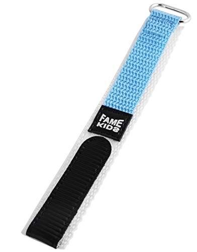 16mm Fame Kids Sport Textil Uhren Armband Weiß Hellblau mit Klettverschluss