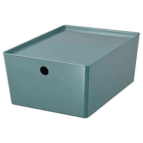 IKEA Kuggis Box mit Deckel aus Kunststoff 26x35x15 cm grautürkis