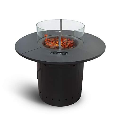 Zoomyo Meateor Feuertisch Ambiente mit 2 Gasbrennern, runde Feuerstelle mit Gas und Piezozündung für Außenbereiche, Feuertisch mit Glasschutz, inklusive Lavasteine und Schutzhaube (Schwarz)