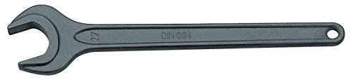 GEDORE Einmaulschlüssel, 46 mm, Mit Aufhängeloch, Hochwertiger Vanadium-Stahl, Blendfreie Optik, Stahlgrau, Nach DIN 894
