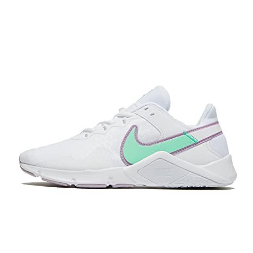 Nike Damen Sneaker Legend Essential 2 White/Green Glow-Violet Shock 37,5   6.5 (Numeric_40)