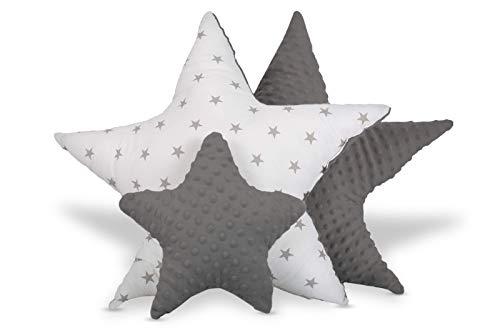 Cojín decorativo para habitación infantil, diseño de estrella, para niños y niñas (gris oscuro y blanco con estrellas y lunares, juego de 3: 2 x 60 cm, 1 x 30 cm)