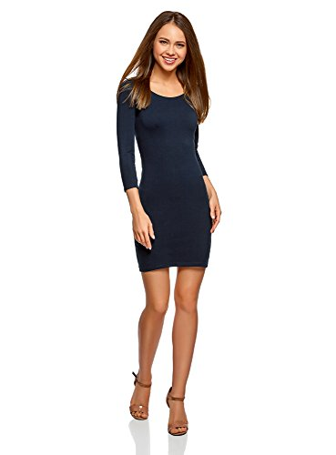 oodji Ultra Damen Enges Kleid mit Tropfen-Ausschnitt am Rücken, Blau, DE 42 / EU 44 / XL