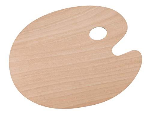 Tavolozza di legno con foro per pollice ovale liscio vassoio di vernice per pittori artigianato
