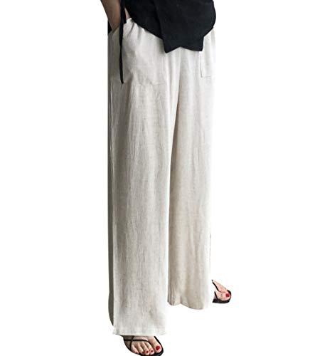 ENVYLOOK レディース ワイド パンツ カジュアル スーツ リネン フォーマル 韓国服 結婚式 お出かけ デート通勤 ロングパンツ ベルト付きコットンリネンワイドパンツ オートミール Free [並行輸入品]