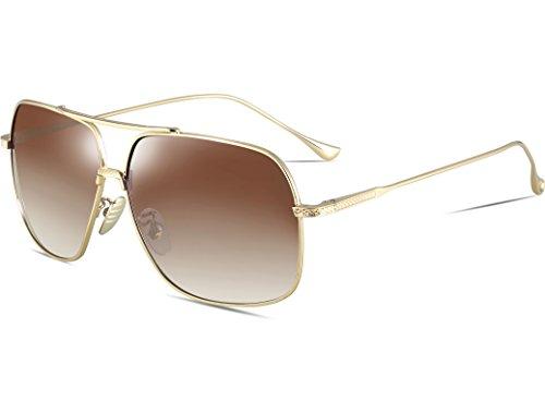 ATTCL Men's HD Polarized Navigator Sunglasses for Men Driving Fishing Golf T005 Gold-Brown