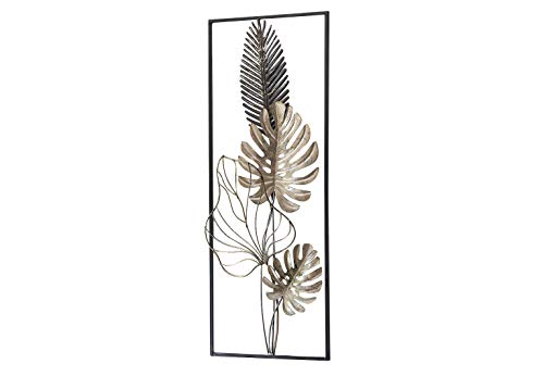Kobolo Wandbild Wanddeko Metallbild - Monstera - Metall - 29x74 cm - weiß-Gold