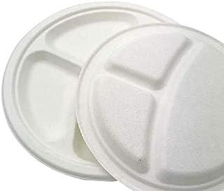 Compostable Paper Plates 10 inch Bulk 3 Compartment Plates Eco-Friendly Disposable Bagasse Paper Plates Pulp Food Grade Sa...