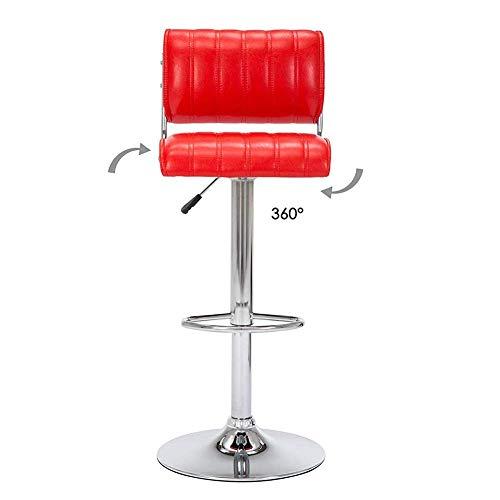 SXRDZ Bar Ascensor Rotar Taburetes Silla, Cocina Contraria Desayuno Beau Salon Peluquería Bar Taburete Silla, 360 Grados Girar Ergonómico Lift Rotate Taburete Sillones-Rojo (Color : Red)