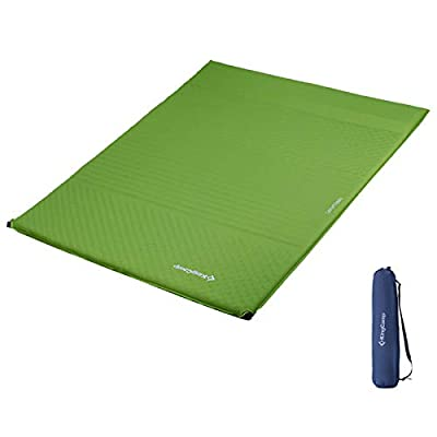 KingCamp Comfort Self Inflating Sleeping Pad Camping Mat Lightweight Foam Mattress Built-in Pillow for Backpacking Hiking Travelling, Big Size, Green