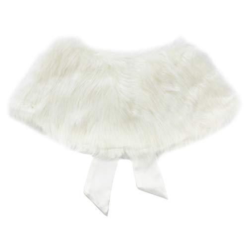Freebily Bolero Niña Blanco de Piel para Bautizo Feista Boda Capa para Vestido de Bebé Niñas Chaqueta Corta Niños Infántil Beige 3-6 Años