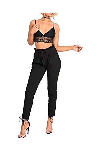 MISS BOHO CHIC - Bolsa de papel para mujer, estilo casual, con cinturón de cigarrillo, ajustado, longitud completa, pantalones