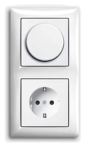 EBROM® complete set universele LED-dimmer + Busch Jäger Balance Si alpinewit combi met stopcontact 1722-914 2115-914 20 EUC-914 inbouw faseafsnijding LED 3-150 Watt & meer