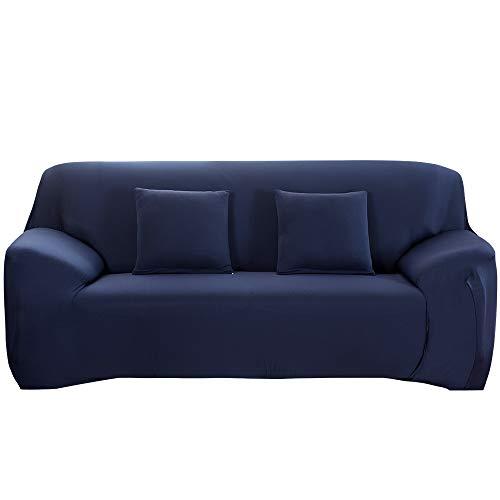 HALOVIE Housse de Canapé Extensible Protection du Sofa Universelle Revêtement de Canapé avec Taie d'oreiller Housse de Fauteuil Confortable dans Le Salon Chambre Maison Bleu- 2 Places (145-185CM)