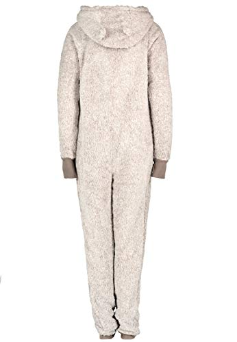 Eight2Nine Damen Jumpsuit aus kuscheligem Teddy Fleece mit Ohren, hellgrau - 3